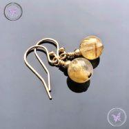 Golden Rutilated Quartz Gold Earrings